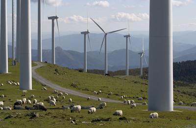 FILE - Windmill farm