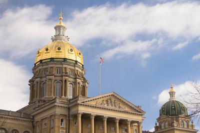 The Iowa state Capitol building in Des Moines