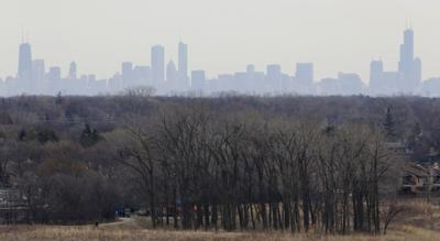 FILE - Smog Plateau, smog, Illinois, Chicago, skyline, 2015