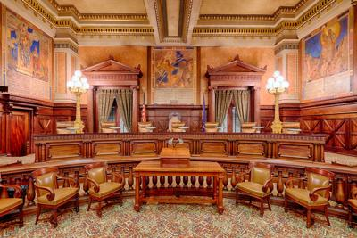 FILE - Pennsylvania Supreme Court chamber room