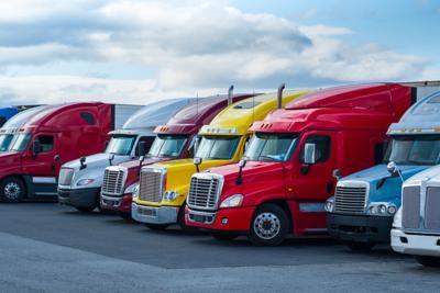 FILE - Semi truck trucking industry