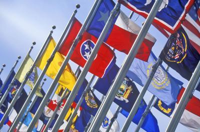 FILE - U.S. state flags