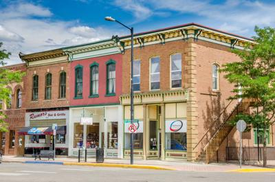 FILE - Small shops along main street in Canon City, Colorado