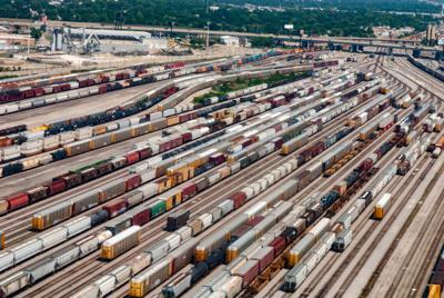 FILE - Chicago freight rail yard