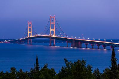 FILE - The Mackinac Bridge in Michigan
