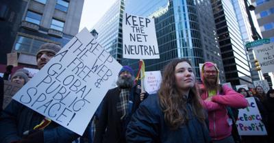 FILE - Net Neutrality protest in Philadelphia
