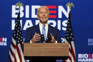 Despite pending legal challenges, Biden says he's on track to win presidency
