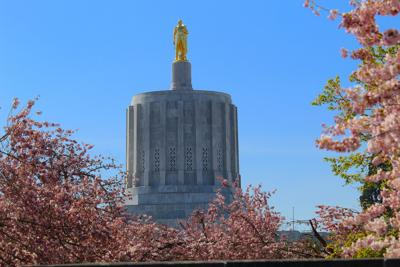 FILE –Oregon state Capitol building cherry blossoms