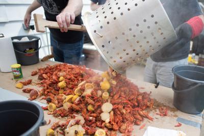 FILE - Boiled crawfish