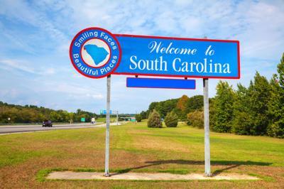 FILE - South Carolina welcome sign