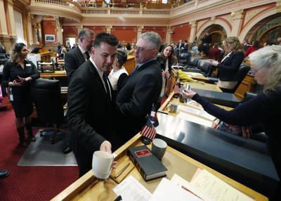FILE - Colorado Senate President Leroy Garcia with Minority Leader Chris Holbert