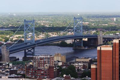 FILE - Benjamin Franklin Bridge Camden New Jersey