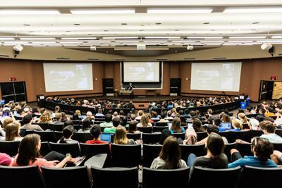 FILE - College lecture hall, professor, university, classroom