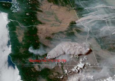 FILE —Oregon Bootleg Fire aerial shot