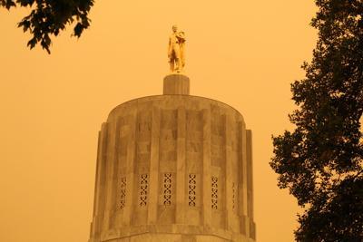 FILE — Oregon state capitol smoky skies