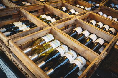 FILE - Wine store, wine crate