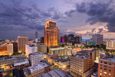 FILE - New Orleans, LA central business district
