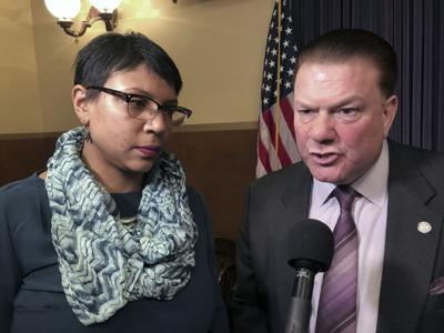 State Sens. Sylvia Santana, D-Detroit, and Peter Lucido, R-Shelby Township