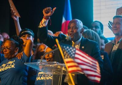 FILE - Denver Mayor Michael Hancock victory speech