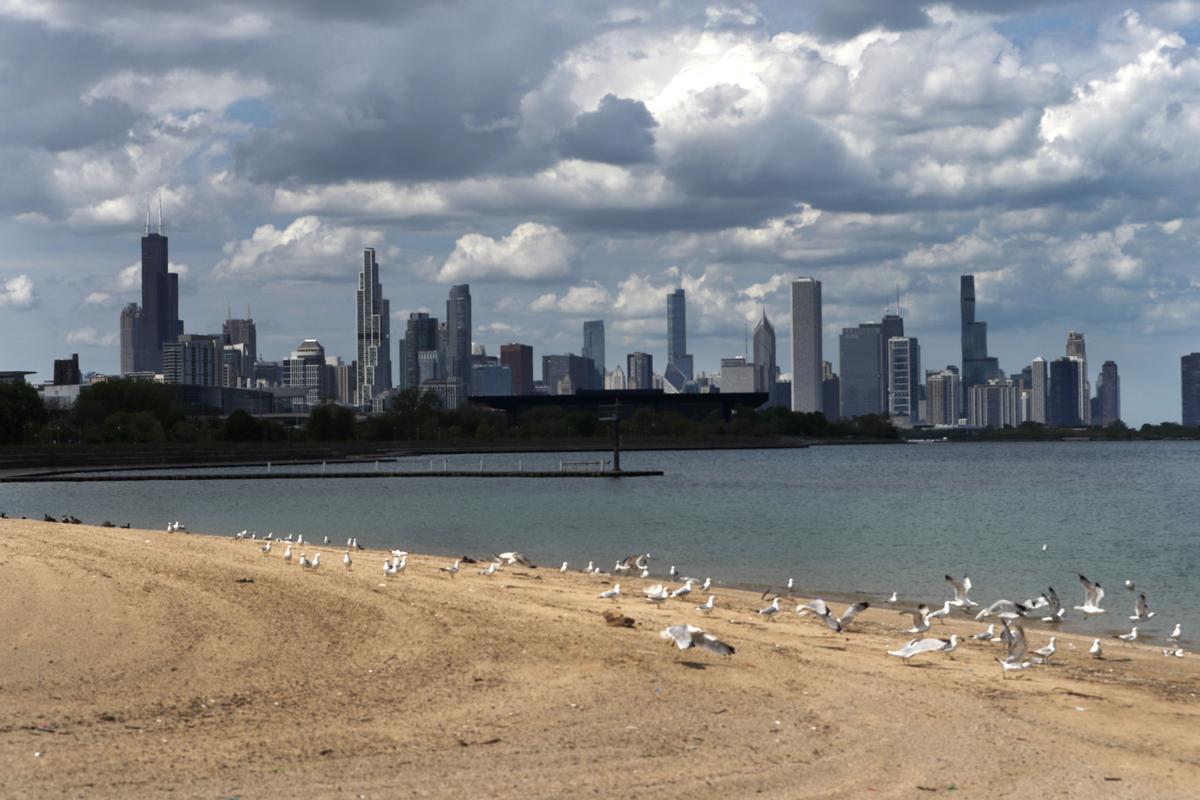 FILE - Virus Outbreak Memorial Day, Chicago, beach