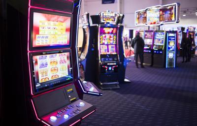 FILE - Casino slot machines