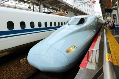 FILE - Japanese Shinkansen high-speed bullet train