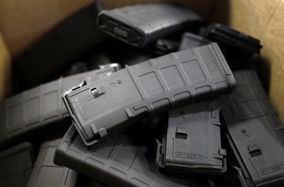 FILE - Firearm ammunition magazines