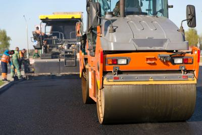 FILE - Road work, infrastructure, construction