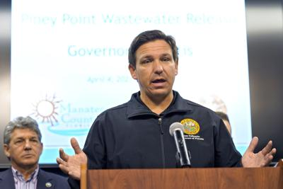 FILE - Ron DeSantis, Wastewater Reservoir Leak