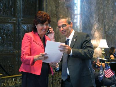 FILE - Louisiana Sens. Beth Mizell and Fred Mills
