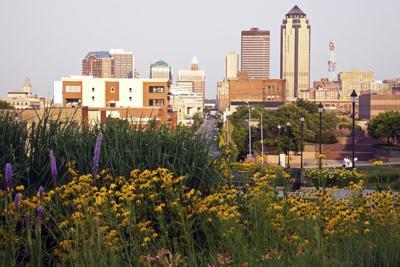 FILE - Des Moines, Iowa, skyline