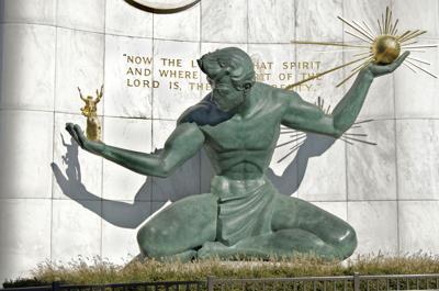 FILE - Spirit of Detroit statue