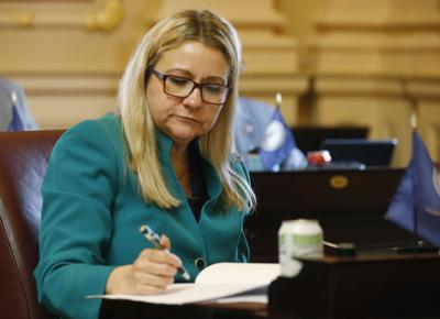 FILE - Virginia State Sen. Amanda Chase