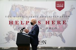 Biden touts American Rescue Plan, Affordable Care Act at The Ohio State University