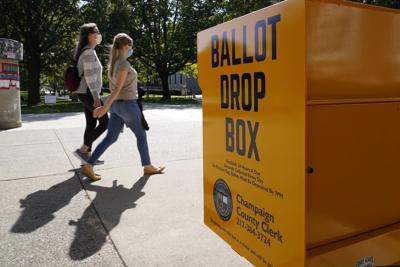 FILE - Illinois, mail-in ballot drop box, Election 2020 Mail In Ballots