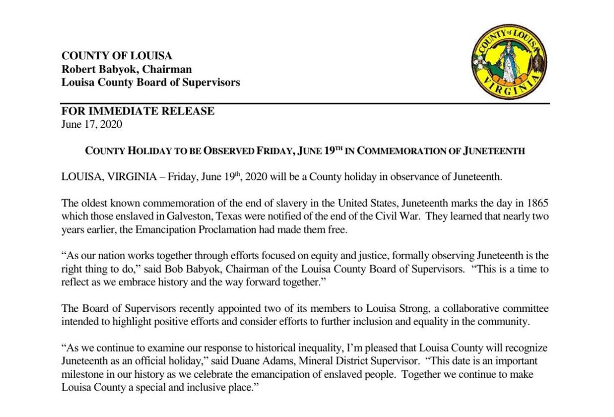 Juneteenth Holiday Press Release