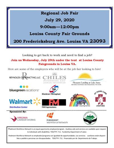 Job fair planned on July 29 in town of Louisa