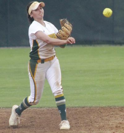 Softball splits district games