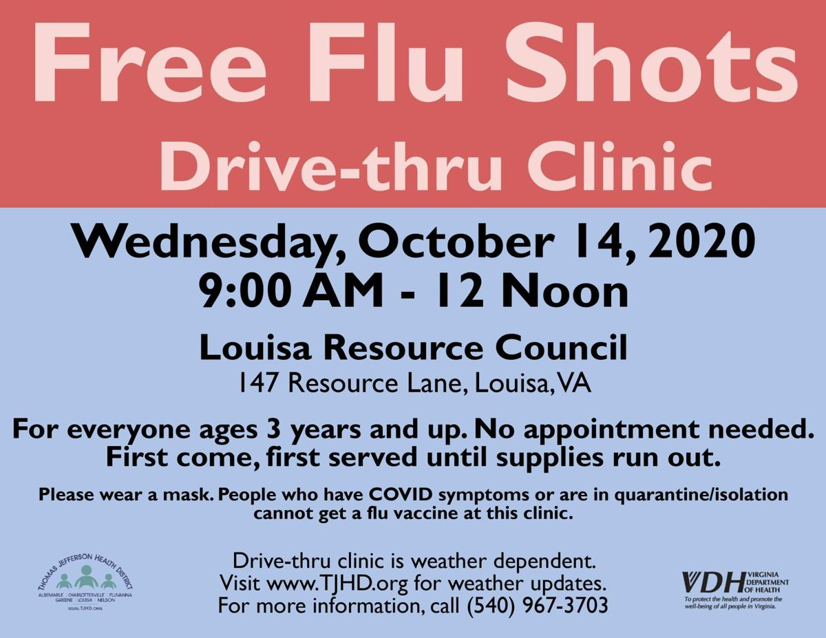 Flu shots and Narcan distribution in Louisa on Oct. 14