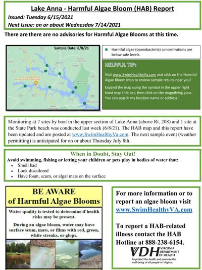 No swimming advisories due to harmful algae so far this year on Lake Anna