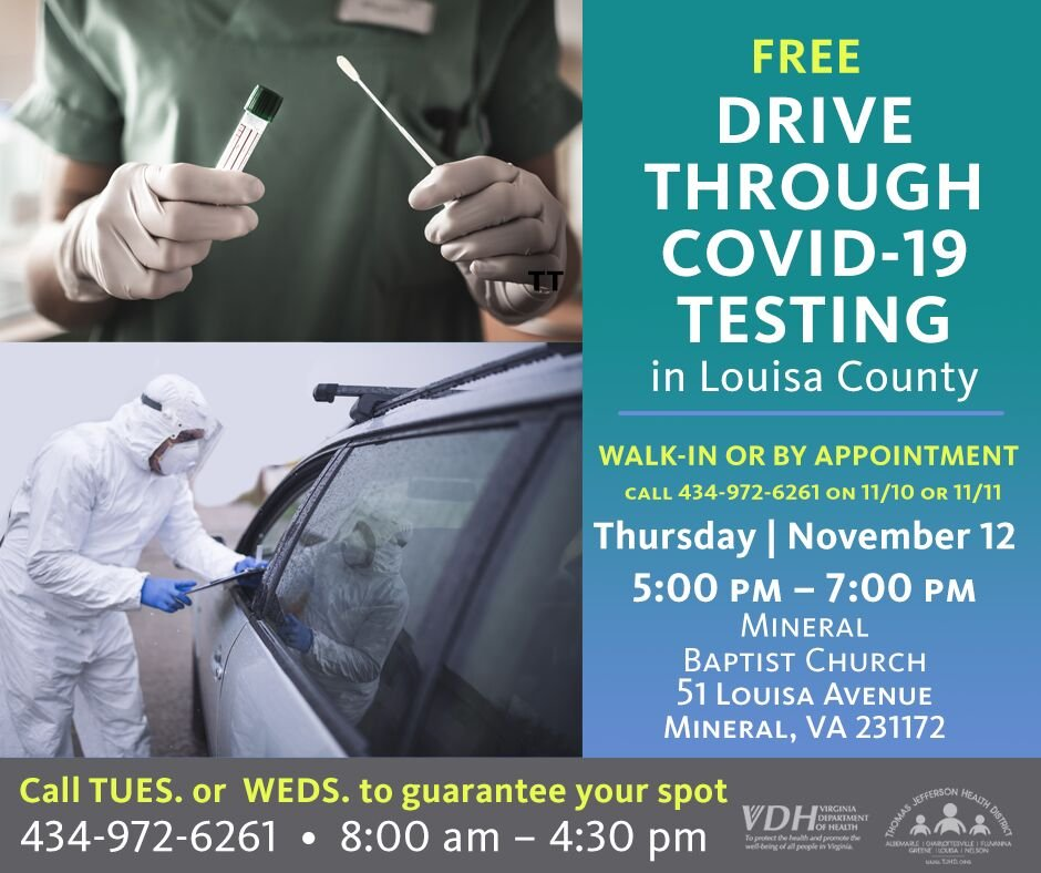 Two COVID-19 test sites in Louisa this month