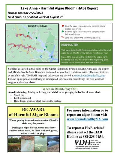 Expanded harmful algae advisory at Lake Anna