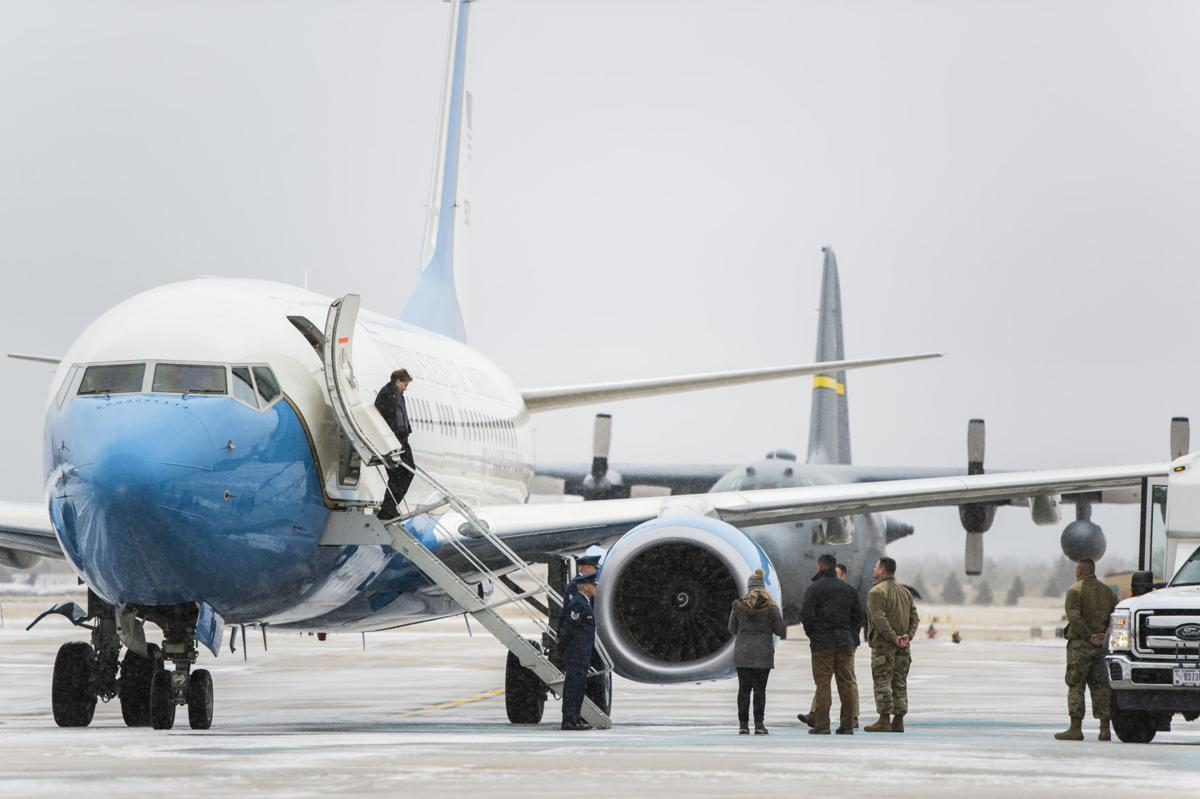 Secretary of the Air Force Barbara Barrett arrives at the 153d Airlift Wing