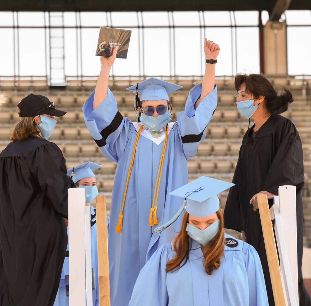Students from Cheyenne East High School celebrate graduation 2020