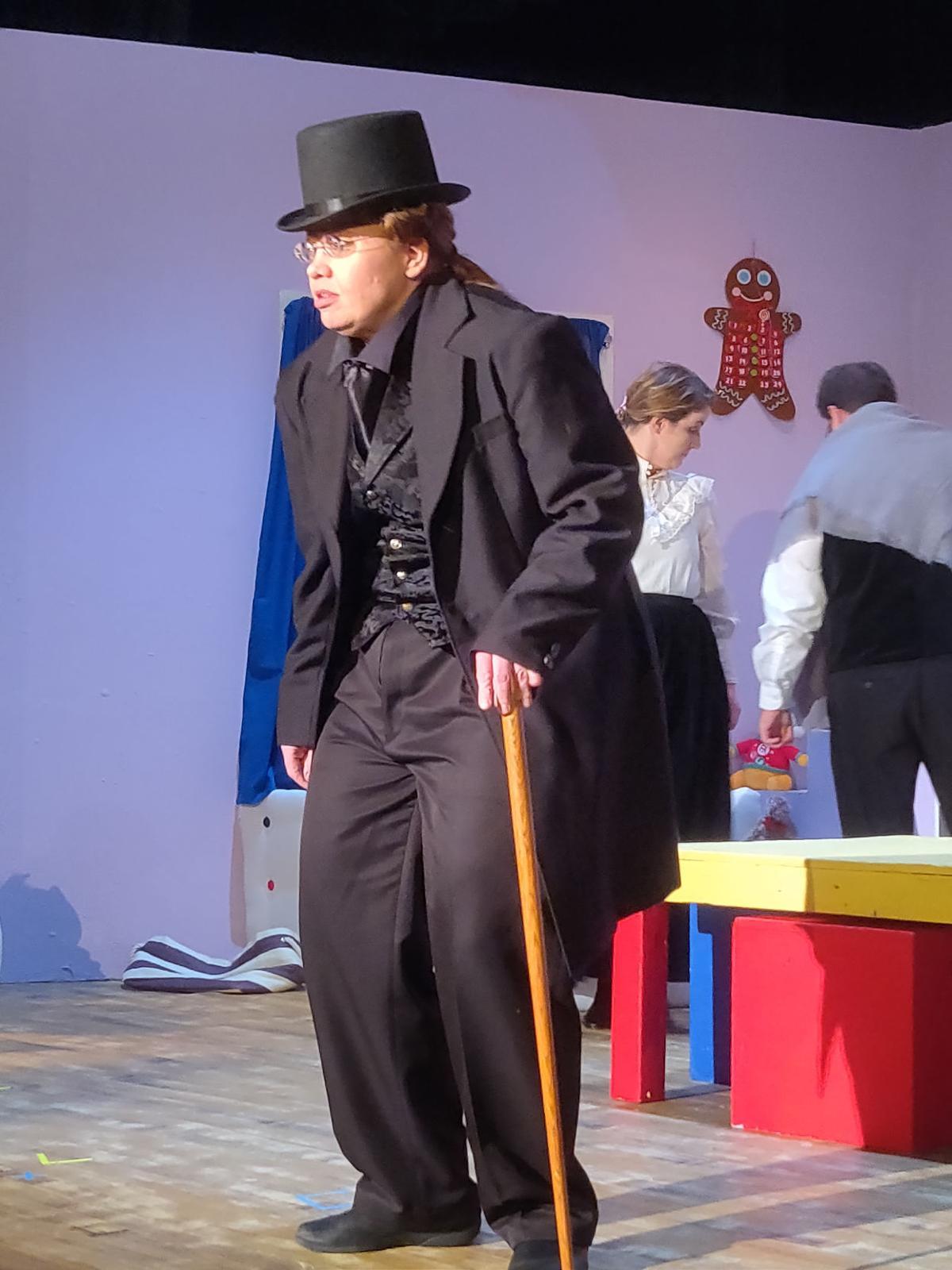 Ceara Madsen rehearses as Scrooge.