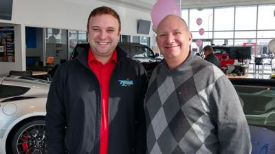 Dallas Tyrrell (left) and his father Brian at Tyrrell Chevrolet