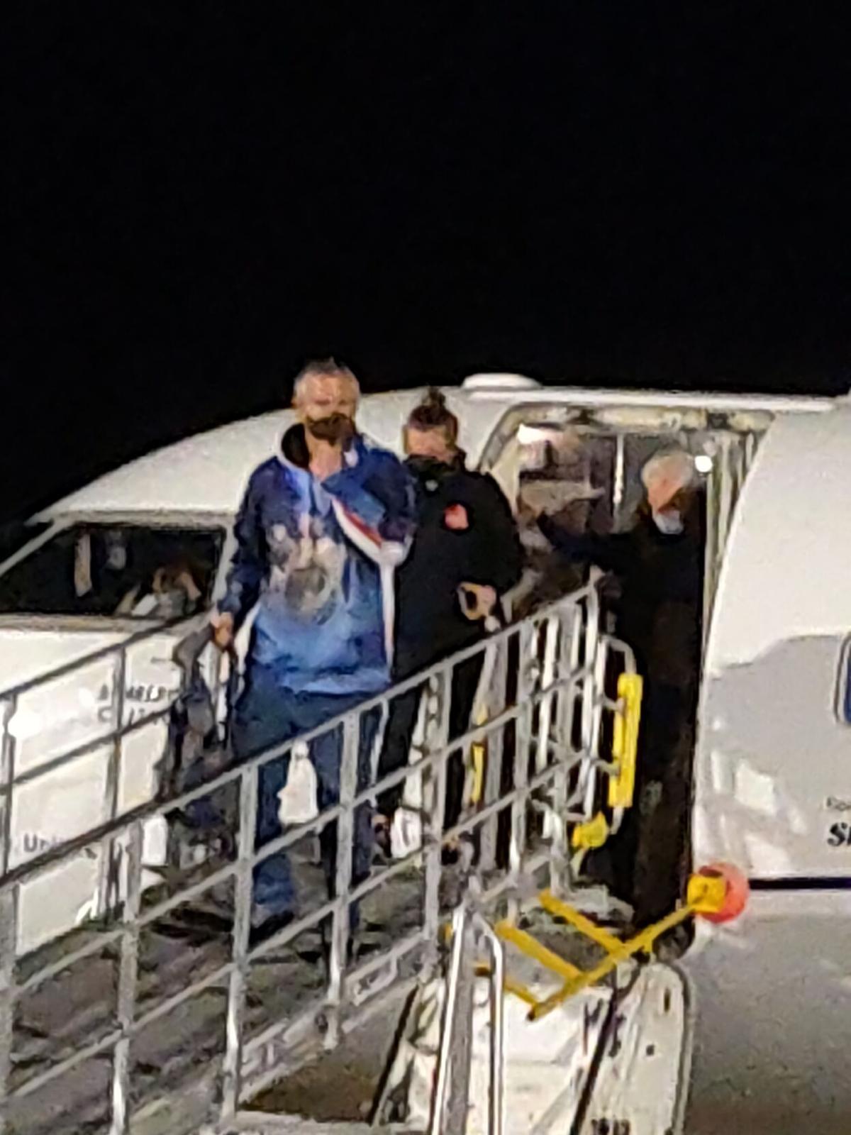 First passengers on flight from Denver