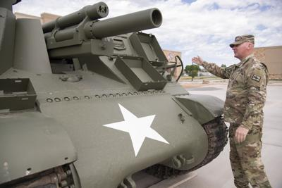 Staff Sgt. Brian Parrish with M-7 Howitzer