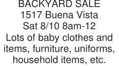BACKYARD SALE