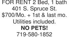 FOR RENT 2 Bed, 1 bath